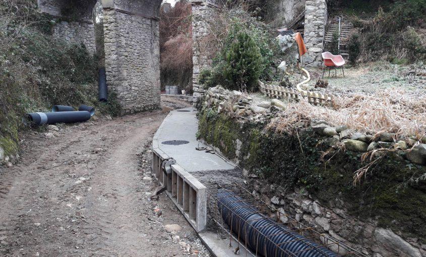 Obres al col·lector d'aigües residuals de Sant Pau de Segúries