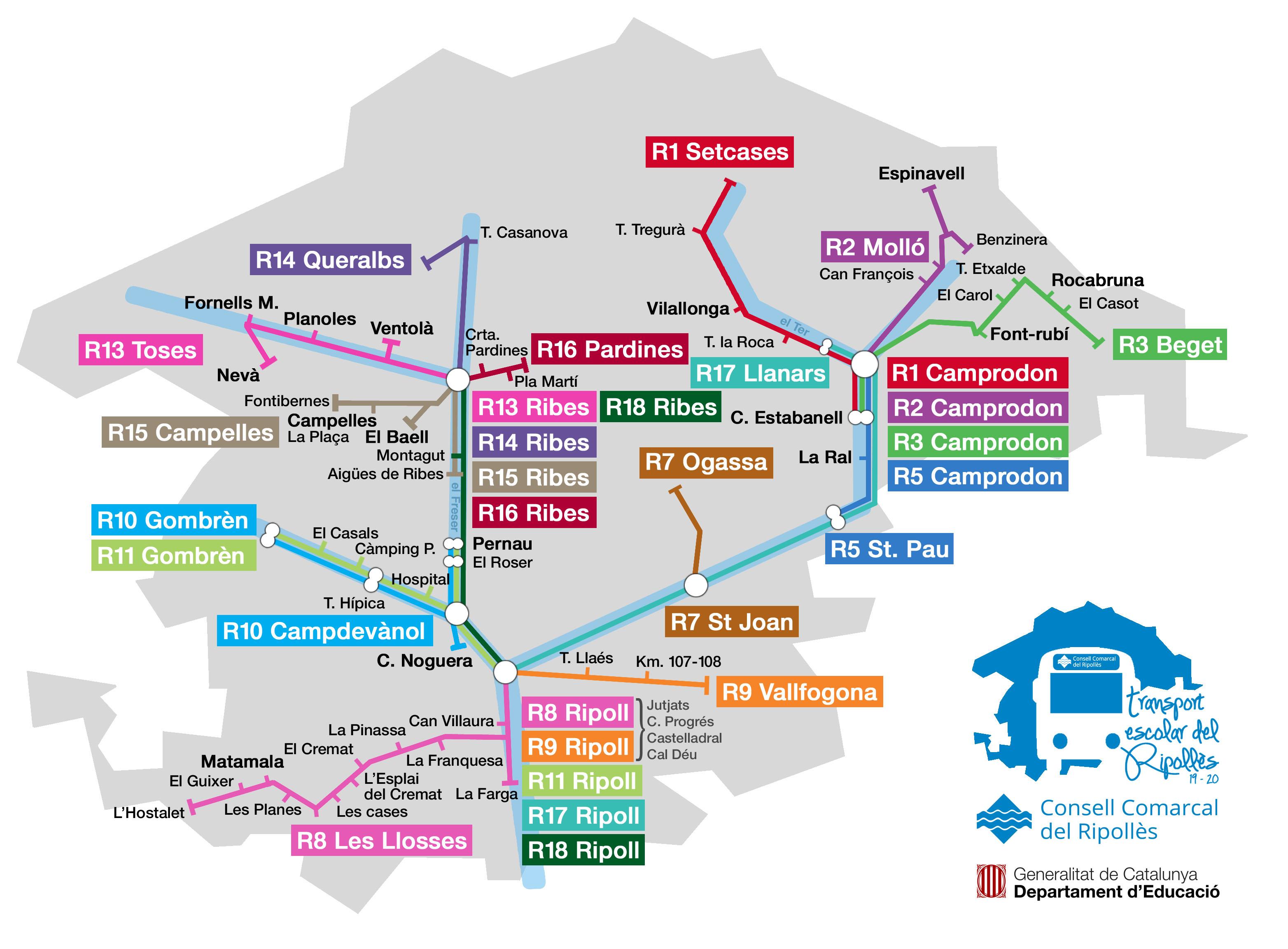 Plànol transport escolar del Ripollès curs 2019 2020