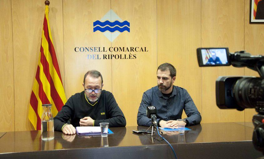 Josep Maria Creixans i Joaquim Colomer presenten el projecte de pressupost del 2020.