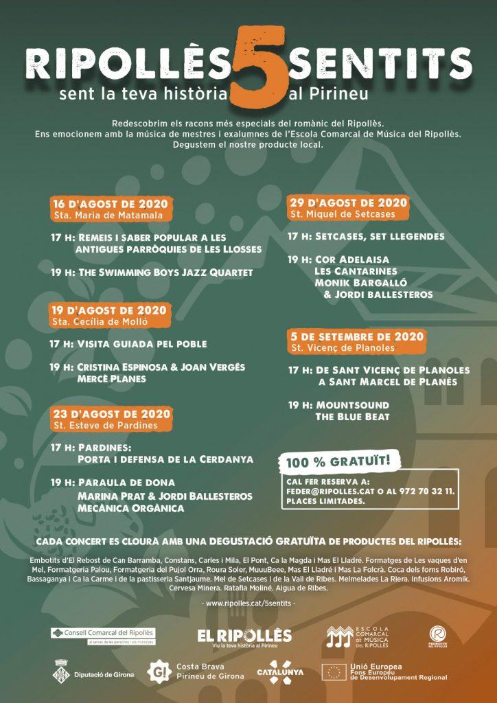 cartell cicle de concerts Ripollès 5 sentits