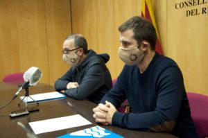 Josep Maria Creixans i Joaquim Colomer, a la roda de premsa de presentació del projecte de pressupost