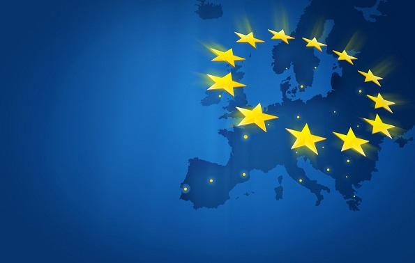 grafisme amb el mapa de la Unió Europea i les estrelles de la bandera