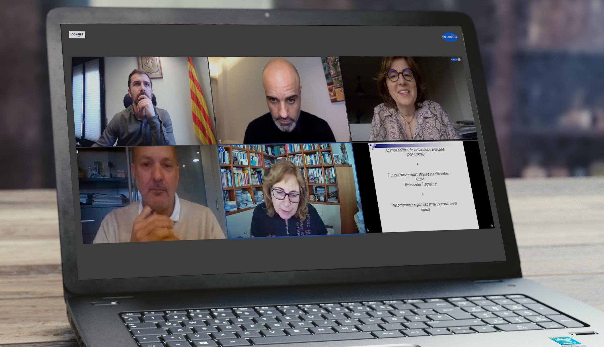 Fotografia d'un ordinador on es veu una imatge de la jornada sobre fons europeus