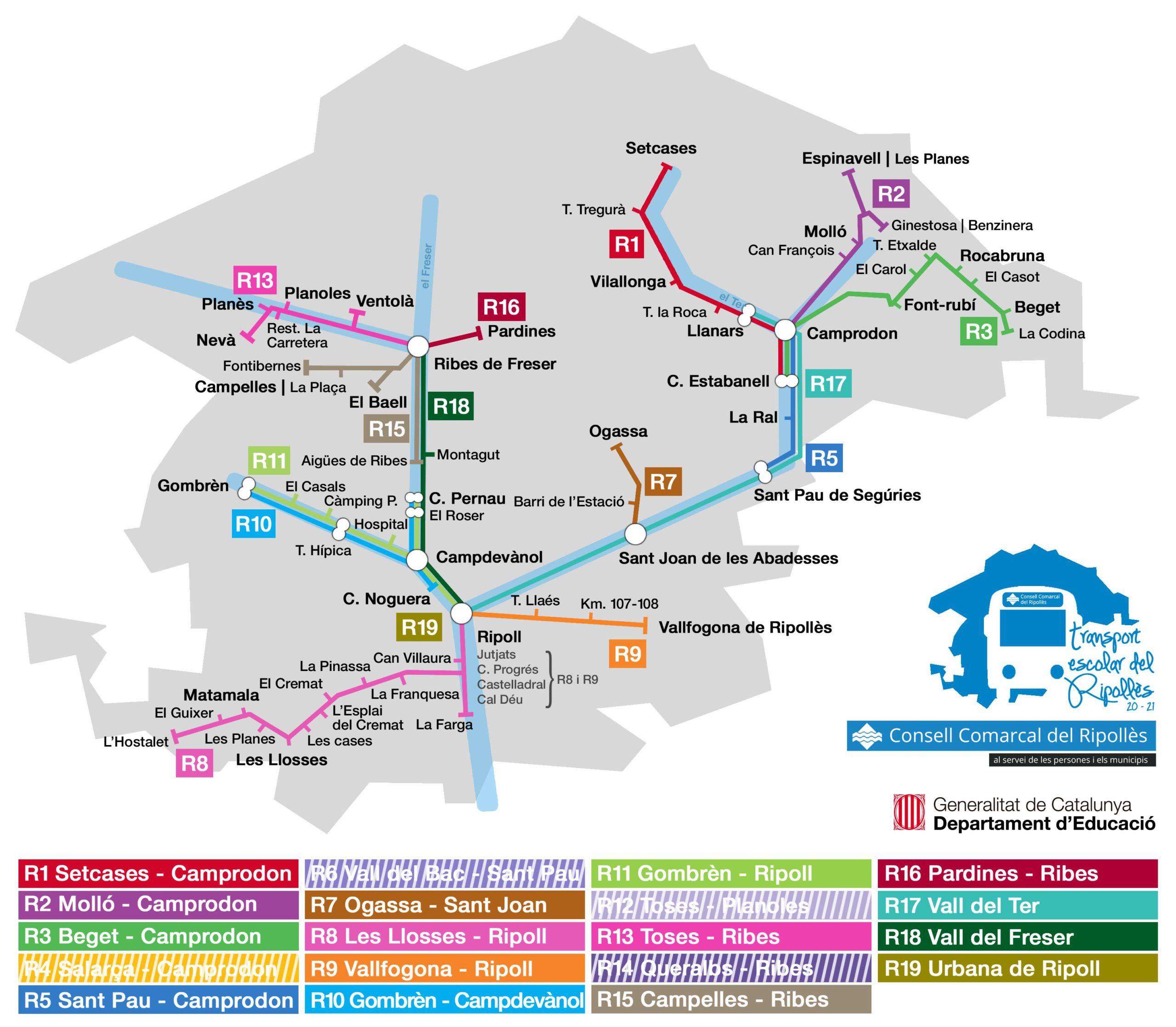 Mapa de línies del transport escolar del Ripollès 2020-2021
