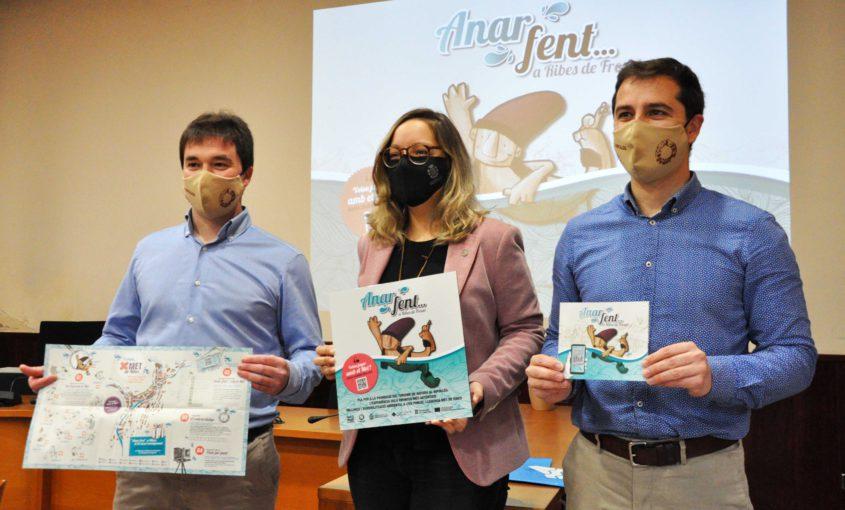 Imatge de Xavier Guitart, Mònica Sant Jaume i Joaquim Colomer en començar la presentació del projecte del Met de Ribes