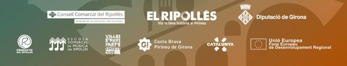 """Logotips de: Consell Comarcal del Ripollès, """"El Ripollès, viu la teva història al Pirineu"""", Diputació de Girona, Producte del Ripollès, Escola Comarcal del Música del Ripollès, Valls catalanes del Tec i del Ter, Patronat de turisme Costa Brava Pirineu de Girona, Turisme de Catalunya i fons FEDER"""