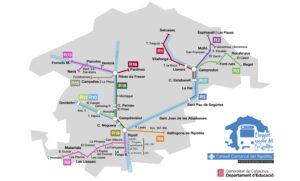 Plànol de línies del transport escolar del Ripollès del curs 2021-2022